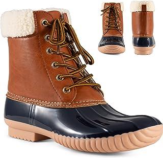 Shoes Becca Womens Rain Boots, Waterproof Wide Calf Two Tone, Lace Up Fleece Trim Duck Boot Footwear