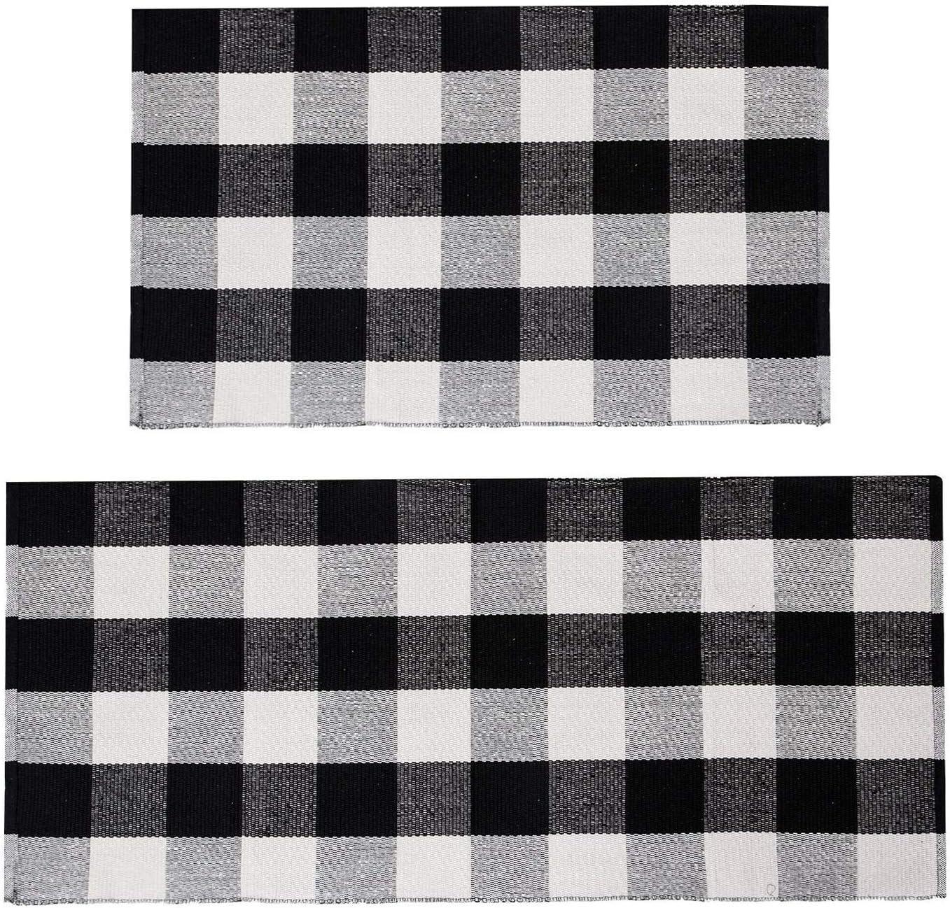 U'Artlines Buffalo Plaid Rug Cotton High quality SEAL limited product Checkered Do Area