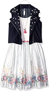 Beautees Girls' Big Babydoll Dress with Moto Vest