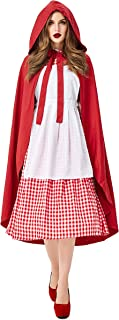 Little Red Hood Cosplay Costume, Halloween Masquerade Party, Women's, Cape/Dress