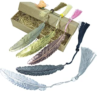 5 Pieces Vintage Metal Feather Bookmarks with Tassels and Beaded for for Adults and Kids (Five-Color Feather Bookmark)
