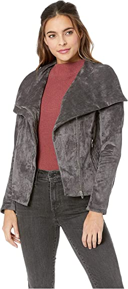 Grey Faux Suede Jacket with Zipper Detail in Legendary