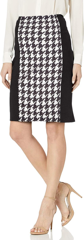 Star Vixen Women's Knee Length Slimming Colorblock Ponte Knit Pencil Skirt with Back Slit