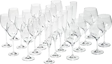 Villeroy & Boch Maxima Stemware Set of 24, Service for 6, Bordeaux, Burgundy, White wine, and Champagne Stemware, Clear