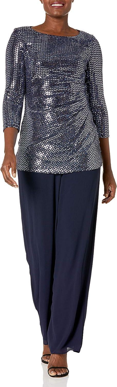Jessica Howard Women's Pant Set with 3/4 Sleeve Side Tuck Tuni