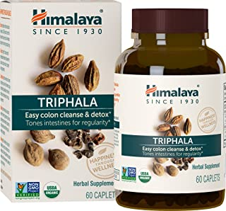 Himalaya Organic Triphala, Colon Cleanse & Digestive Supplement for Occasional Constipation, 688 mg, 60 Caplets, 2 Month S...