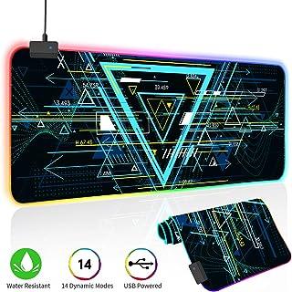 O'woda Alfombrilla de Ratón RGB Extra Grande -Geometría, 800 * 300 * 4 mm - Base de Goma Antideslizante, Lavable, Mouse Pad para Videojuegos, Gamers Ordenador, PC y Laptop
