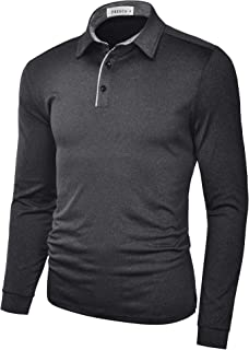 Mens Polo Shirts Dry Fit Performance Solid Color Long Sleeve Glof T Shirts