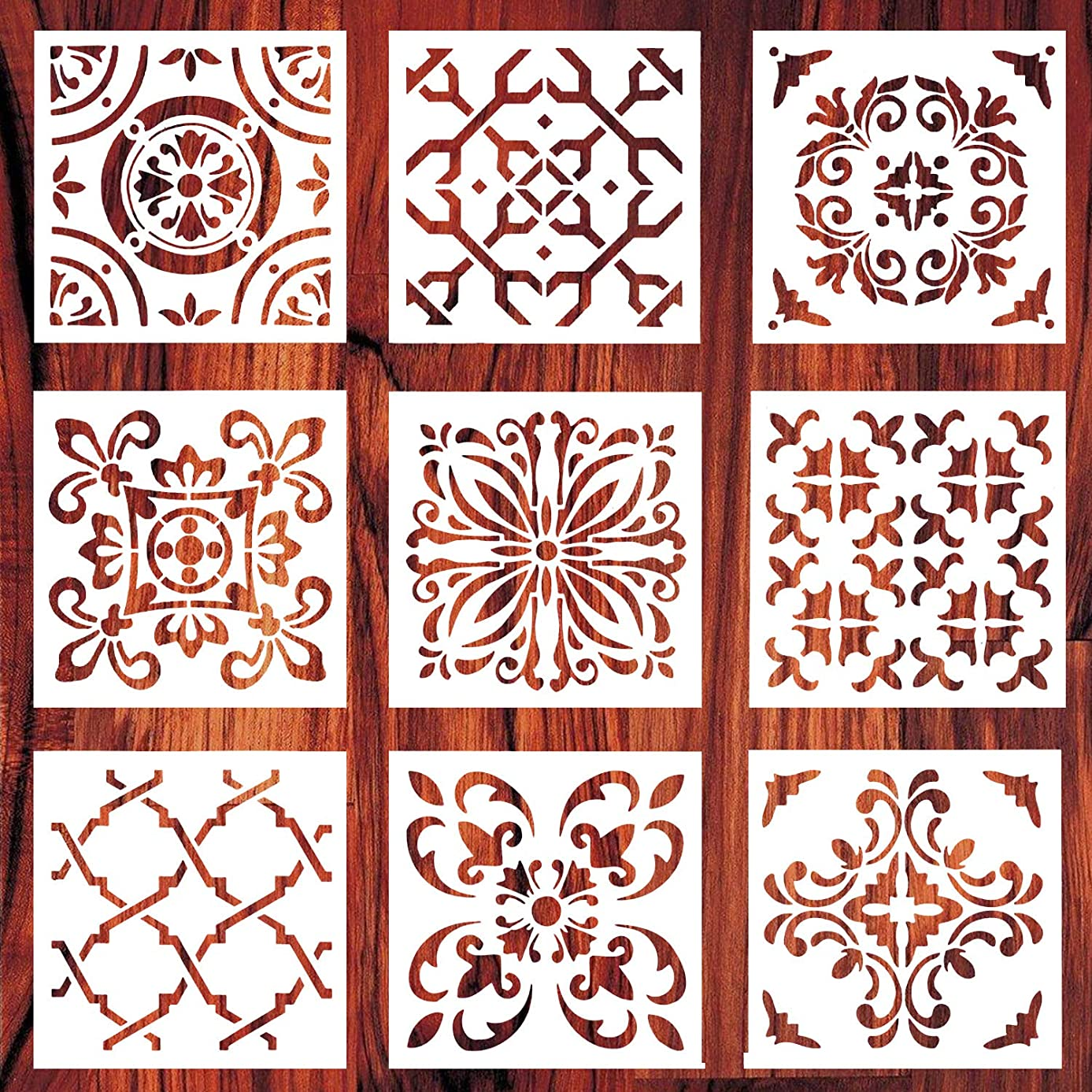 AxPower Mandala Painting Stencils Reusable Stencil Laser Cut Painting Template Floor Wall Tile Fabric Furniture Stencils, Set of 9 (6x6 inch)