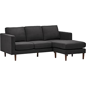 "Amazon Brand – Rivet Revolve Modern Upholstered Sofa with Reversible Sectional Chaise, 80""W, Storm Grey"