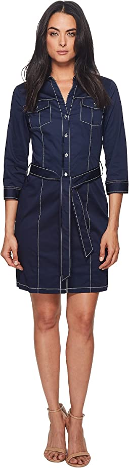 3/4 Sleeve Shirtdress w/ Contrast Stitching