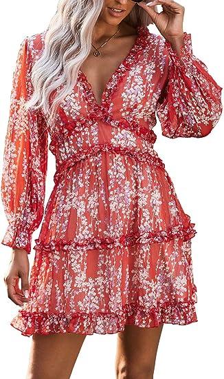 red floral silk dress