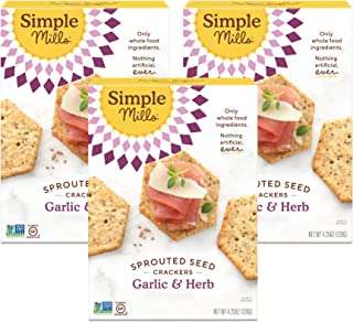 Simple Mills Garlic & Herb Gluten Free Sprouted Seed Crackers with Chia Seeds, Hemp Seeds, Sunflower Seeds, Flax Seeds, and Sunflower Oil, Made with whole foods, 3 Count, (Packaging May Vary)