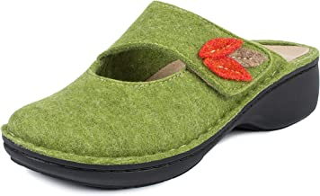 Jürgen Hirsch Comfort 04 vilten clog voor dames, leren comfortabel voetbed, ronde vorm, breedte G, verwarmt koude voeten, ...