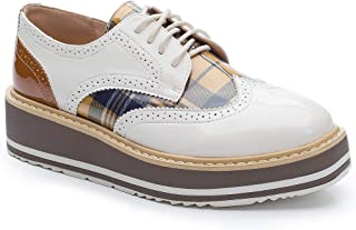 Cetula 2018 Handcrafted Lace-up Brogue Detailed Glass Patent Vamp Plaid Women Oxford&Derby Shoes ft. Stitching Wedged Heels
