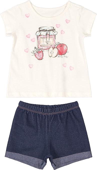 Conjunto Blusa Meia Malha e Shorts Malha Jeans Quimby bebê-meninas