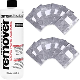Onyx Professional 100% Acetone Nail Polish Remover Kit - Includes 10 Foil Wraps &100% Acetone Nail Polish Remover 16 Ounce
