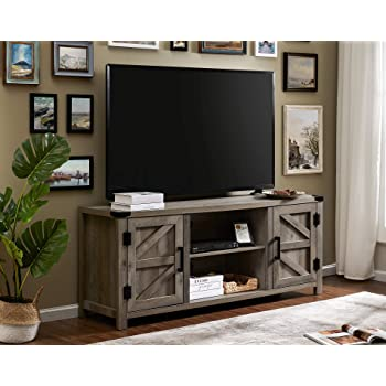 """WAMPAT Farmhouse TV Stand for 65"""" Flat Screen, Media Console Storage Cabinet in Rustic Gray Wash, Entertainment Center for Living Room"""