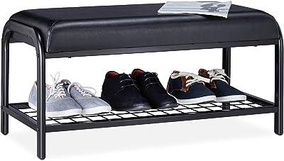 Relaxdays, rembourré, Étagère siège, Métal, banc pour chaussures, 40x85x40 cm, couleur, acier, MDF, polyuréthane (PU), Noir, 1 élément