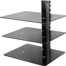 AVF AS300-A Wall Mounted AV Component Shelving System - 3 Shelves, Black