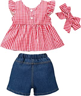 DELIMALI Baby Girl 's Outfit Print Fly Sleeve Tops and Patchwork Denim Shorts with Headband