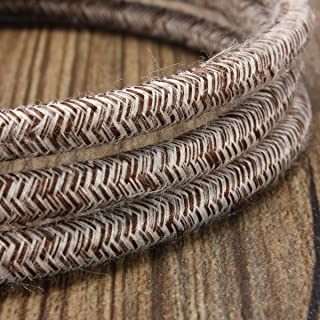 32.8ft Round 18/2 Rayon Covered Wire,HESSION Antique Industrial Electrical Cloth Cord,Vintage Style Lamp Cord Strands(White and Brown)