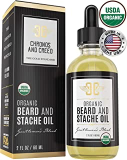 Certified Organic Beard Oil (2oz) | For Softer, Smoother Facial Hair Growth | Leave-In Beard Conditioner | Premium Beard Oil Facial Moisturizer
