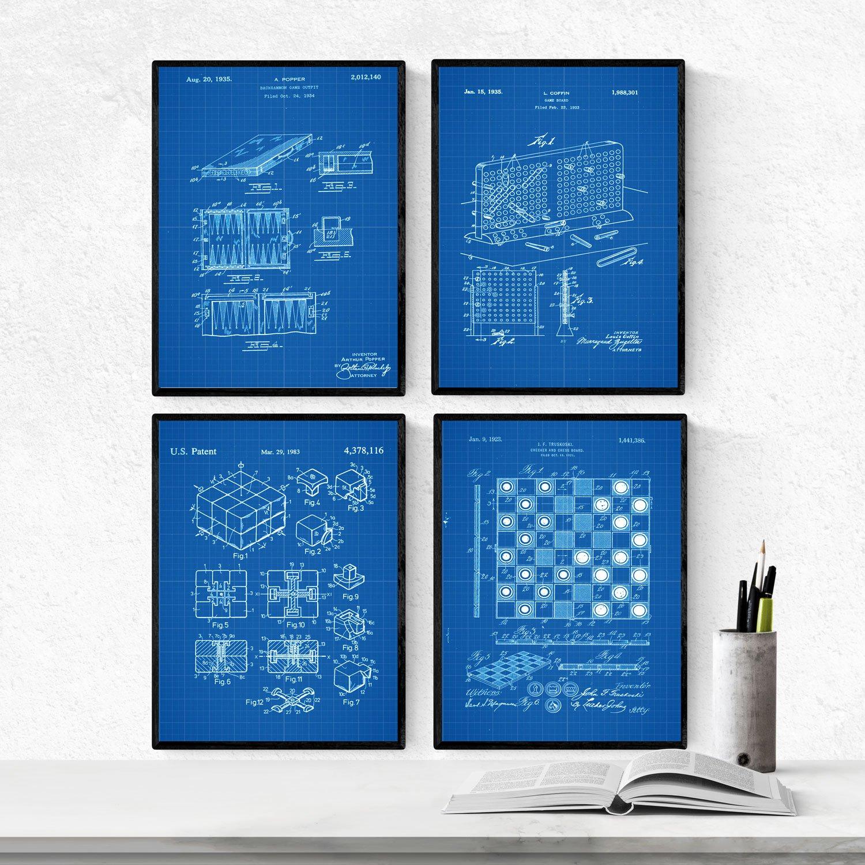 Nacnic Azul - Pack de 4 Láminas con Patentes de Juegos DE Mesa. Set de Posters con