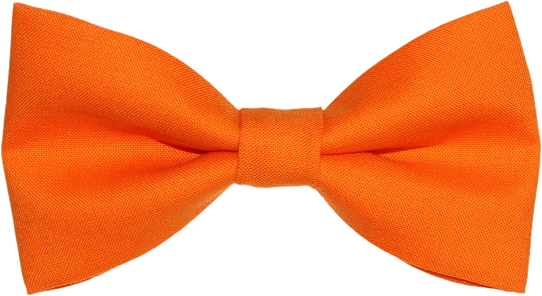 Men's Solid Orange Clip On Cotton Bow Tie amy2004marie