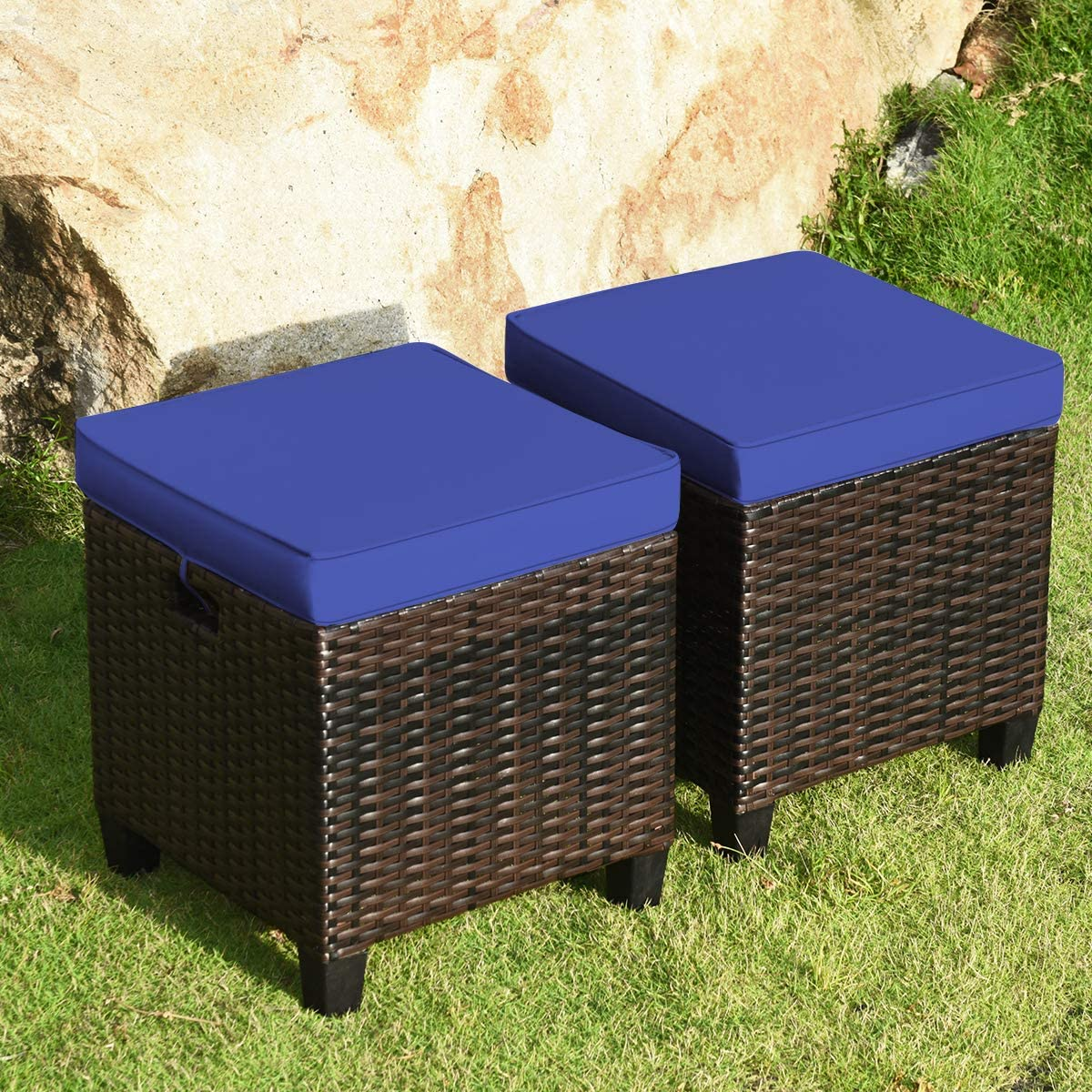 Happygrill 2pcs Patio Ottoman Set Outdoor Rattan Wicker Ottoman Seat with Removable Cushions Patio Furniture Footstool Footrest Seat