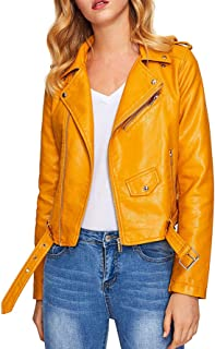 9ef76d8da65 Verdusa Women s Faux Leather Motorcycle Biker Short Coat Jacket Slim Zipper  Jacket