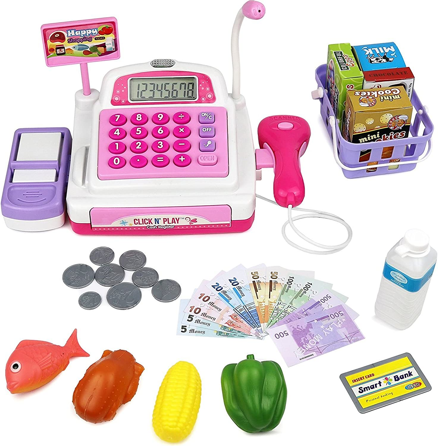 Click N' Play CNP0298 Pretend Play Electronic Calculator Cash Register with Realistic Actions & Sounds (Pink) Toy