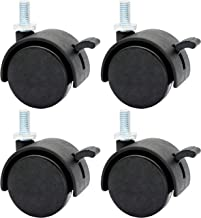 MySit 4 Pack 1.5 Inch Nylon Plastic Replacement Caster for Furniture Wheels, Office Chair Swivel Caster Metric Threaded Stem M8 x 15mm(Around 5/16