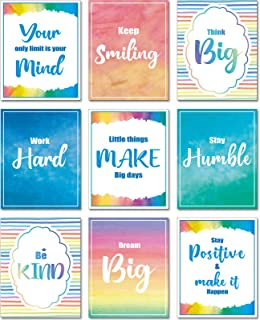 9 Pieces Watercolor Inspirational Wall Art Prints, Watercolor Art Prints Motivational Posters Inspirational Posters with 4...
