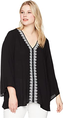 Karen Kane Plus - Plus Size Embellished Flare Sleeve Top
