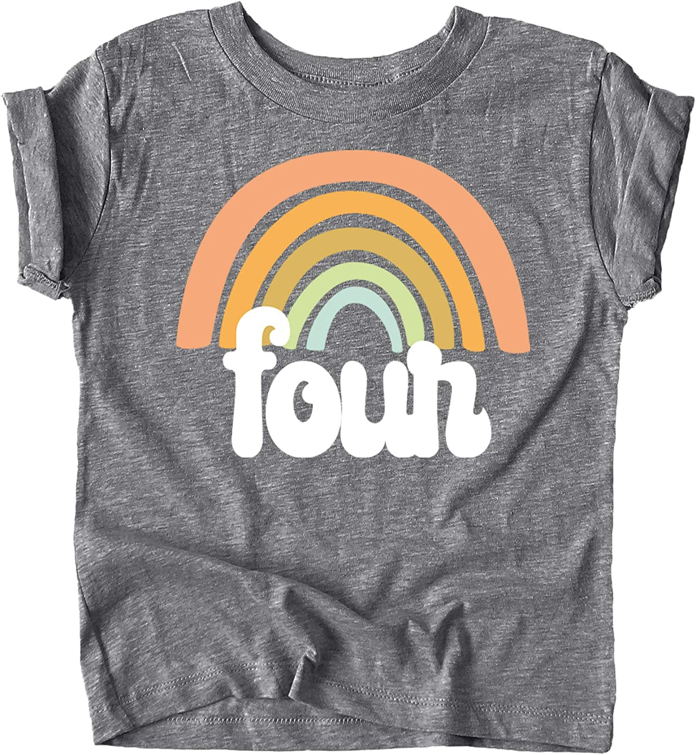 Four Retro Rainbow Birthday Shirts for Toddler Girls 4th Birthday Outfits