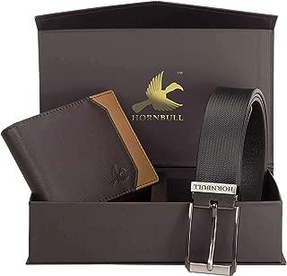 Hornbull Gift Set for Men's - Brown Wallet and Black Belt Men's Combo Gift Set 9355
