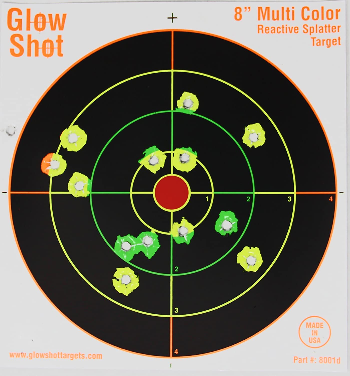 75 pack - 8 Reactive Splatter Targets - GlowShot - Multi color - See Your Hits Instantly - Gun and Rifle Targets - Search GlowShot for all our 6 8 and 10 Targets