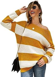 Fekey&JF Women's Sweater,Loose Pullover Sweater Striped Long Sleeve Oversized Knit Jumper