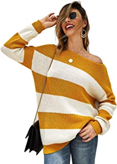Fekey&JF Women's Sweater,Loose Pullover Sweater Striped Long Sleeve Oversized Knit Jumper
