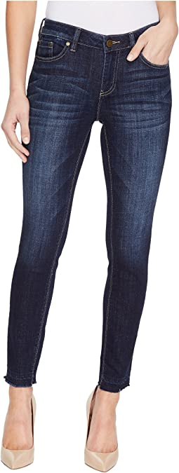 Indigo Undone Hem Five-Pocket Ankle Jeans in Dark Authentic