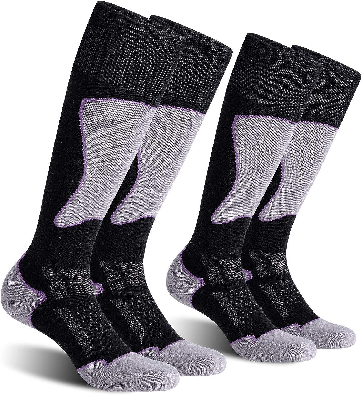 Cold Weather CelerSport 2 Pack Womens Ski Socks for Skiing Snowboarding Winter Performance Socks
