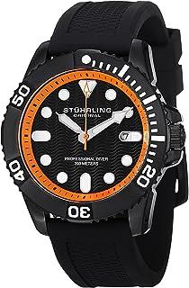 Stuhrling Original Men's 328R.335657 Analog Swiss Quartz Black Silicone Rubber Strap Watch