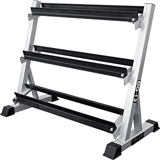Valor Fitness BG-12 3-Tier Dumbbell Rack for Safe & Easy Home Gym Dumbbell Storage