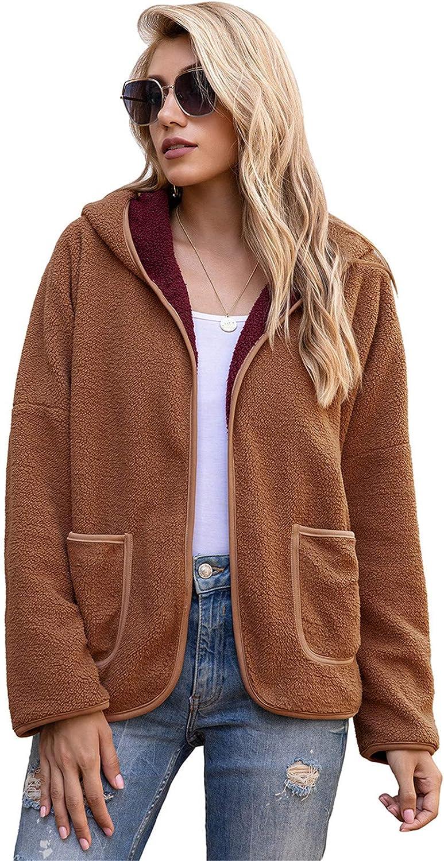 Snhpk Women Teddy Fleece Furry Open Front Cardigan Hooded Coat Jacket, Faux Fur Moto Warm Winter Fuzzy Outwear,Caramel,S