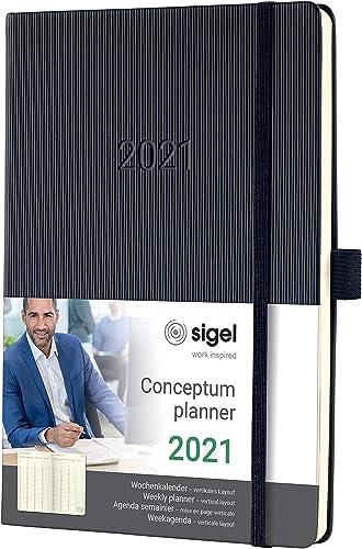 SIGEL C2119 Agenda semainier 2021 Conceptum, couverture rigide, 14,8 x 21,3 cm, vertical, noir