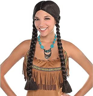 AMSCAN Native American Braids Wig Halloween Costume Accessories, Black, One Size