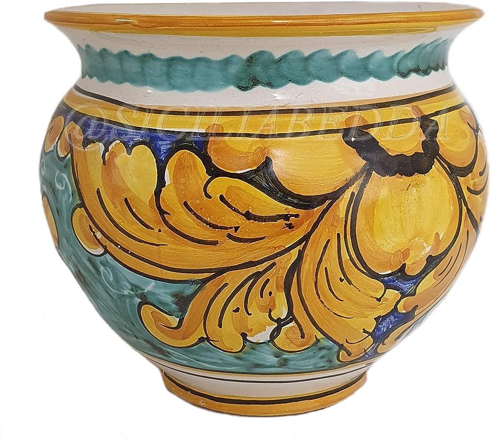 Sicilia bedda , vaso in ceramica siciliana - prodotto artigianale di alta qualità , realizzato a mano