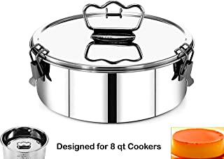 EasyShopForEveryone Stainless Steel Round Cake Flan Mold with Lid Handle, 8.6 x 3.5 Inches, Bakeware, Lasagna, Pudding, Water Bath Baking Pan, Casserole, Pot in Pot, Compatible with 8qt Instant Pot