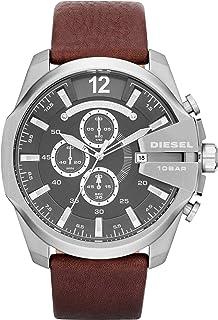 ساعة كوارتز يابانية انالوج كرونوغراف بمينا رمادية وسوار من الجلد للرجال من ديزل ماستر شيف موديل Dz4290
